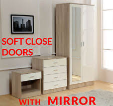 cheap mirrored bedroom furniture. wonderful furniture cream mirrored high gloss 3 piece bedroom furniture set  wardrobe chest  bedside inside cheap mirrored