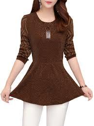 Fancy Top Design For Girl Womens Primer Shirt Stylish Patchwork Design O Neck Long Sleeve Plus Size Slim Top