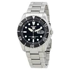 seiko 5 automatic black dial stainless steel men s watch snzf17