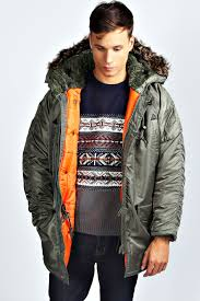 image is loading boohoo mens chunky parka jacket with fur lined