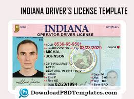Driver's Psd License Template In editable Indiana