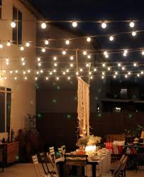 backyard party lights over