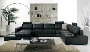 Leather Couch Living Room Design Modern Living Room Design With Minimalist Black Leather Sofa