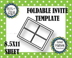 Foldable Invitation Template Foldable Invite Template Party Invite Baby Shower Make Your Etsy