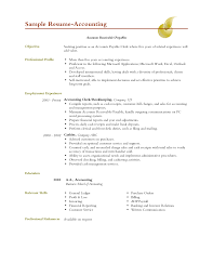 Accounting Resume Objectives Free Resume Templates 2018