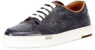 berluti men s playtime scritto leather tennis shoe in gray for men lyst