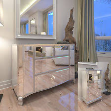 Mirrored 4 6 Drawer Chest Tallboy Console Silver Shabby Chic Mirror  Furniture