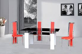 black glass dining table white gloss 4 red chairs