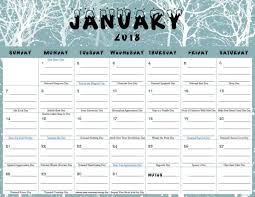 printable calanders free printable calendar for january 2018