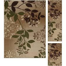 mainstays belvedere tan leaves 3 piece loop pile print area rug set com
