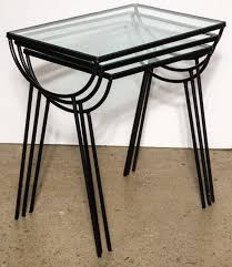 wrought iron set of three arbuck indoor outdoor nesting tables for