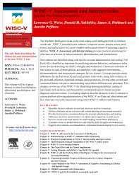 Wisc V Score Chart Wisc V Assessment And Interpretation Book