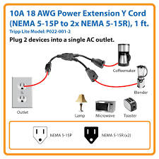 amazon com tripp lite standard power extension cord y splitter 5 15r Outlet Diagram power two devices using only one outlet Outlet 5- 15 20R
