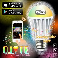 iphone controlled lighting. WiFi LED Light Bulb - Secured Smart Q.Lite™ Full Color IPhone, Android Phone, Tablet Controlled Bright White Dimmable Free App Dancing Iphone Lighting
