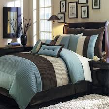 pc modern color block blue brown comforter set oversized  brown