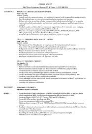 Quality Control Chemist Resume Samples Velvet Jobs