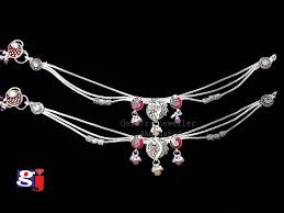 Fancy Silver Payal Designs With Price Fancy Silver Anklet Single Brooch Style New Bombay Payal