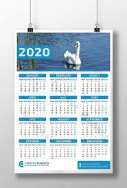 Photoshop Calendar Template 2020 One Page Wall Calendar 2020 Template Psd Free Download