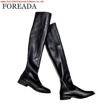 good womens shoes foreada genuine leather shoes stretch over the knee boots flats thigh high