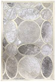 retro silver white modern leather area rug jpg