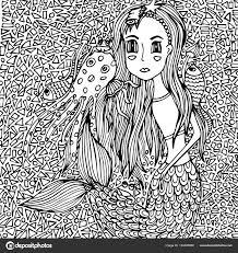 人魚の女の子と海の生物 モザイク Vektor 手書きの落書き ストック