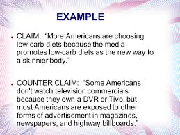 the argumentative essay ppt video online  example claim more americans are choosing low carb diets because the media promotes low