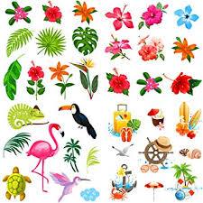 Hawaiian Pattern Amazing Elcoho 48 Pieces Hawaiian Luau Hibiscus Temporary Tattoos Tropical