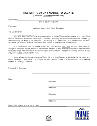 30 day notice to landlord form 30 day notice in california form free to landlord law vacate