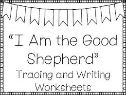 This coloring page and activity sheet will help kids understand what it means for jesus to be the good shepherd. I Am The Good Shepherd Handwriting And Color Worksheets Bible Verse Activity