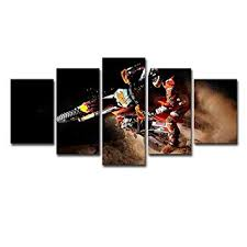 SHOMPE <b>Framed</b> Dirt Bike Canvas Poster Wall Art <b>5 Panels</b>