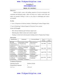 B Tech Electronics And Communication Engineering Ece Resume Format