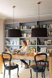 home office space design. i want a home office . space with gray bookshelves, black pendant lamps design