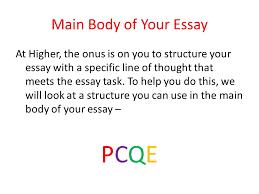 Main body of essay