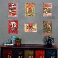 vintage metal tin signs pin up girl garage muscle car man cave wall plaque decor ideas man cave wall decor