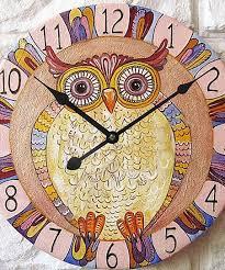 sweet clocks yellow owl wall clock