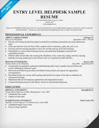 Entry Level Help Desk Resume Free Resume Templates 2018