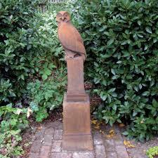 garden owl statue. garden statue - owl on plinth modern sculpture (slate) r