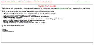 Finance Volunteer Work Experience Certificates Experience Letters