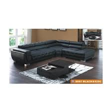 american eagle furniture 8097 black tufted bonded leather sectional sofa with adjule headrests