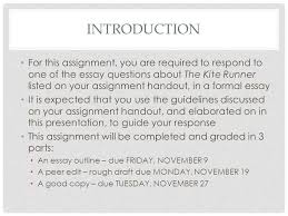 requirements and expectations the kite runner literary essay  2 introduction