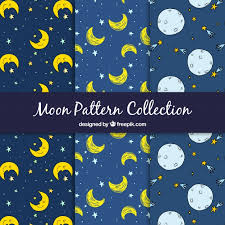 Moon Pattern Delectable Hand Drawn Moon And Stars Patterns Vector Free Download