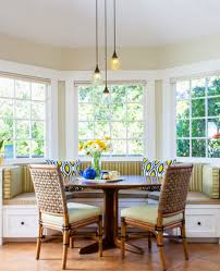 Dining Room:Marvelous Window Seat Behind Breakfast Nook With Striped  Upholstery Astonishing Breakfast Room Designs