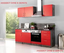 Küchenzeile SEVILLA Küchen Leerblock Breite 220 cm Rot