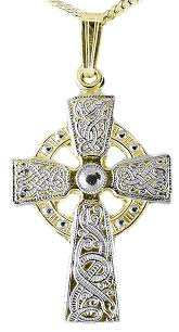 extra large mens 14k yellow white gold solid silver silver warrior irish celtic cross pendant necklace