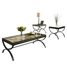 steve silver emerson rectangle glass top 3 piece coffee table set black hayneedle
