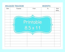Mileage Tracker Template Mileage Log Template Excel Printable