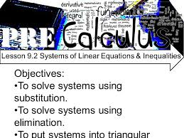 pre objectives to solve systems using substitution