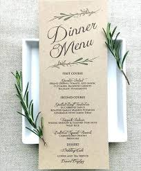 Dinner Menu Card Template Party Templates Free Sample
