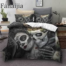 fanaijia sugar skull bedding sets king beauty kiss skull duvet cover bed set bohemian print black bedclothes queen size bedline flannel bedding queen size