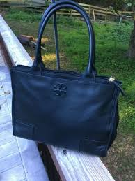eeuc tory burch ella canvas leather large double zip tote black handbag